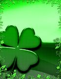 Four leafed clover with floral border Stock Images