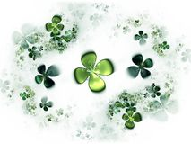 Four leafed clovers, shamrock. Abstract illustration of a   four-leafed clovers field Stock Photo