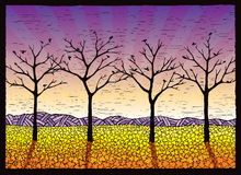 Four Leafless Trees. Illustration of four maple trees in the fall Stock Image