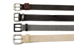 Four leather belt with buckles Royalty Free Stock Image