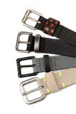 Four leather strap with buckles. Isolate Stock Image