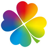 Four Leaved Clover Rainbow Gradient White. Four leaved clover with circular rainbow gradient coloring. Isolated vector illustration on white background Stock Photography