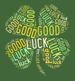 Four leaves clover good luck. A four-leaves clover, made with the words good luck vector illustration