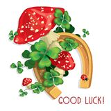 Four leaves and shamrocks and clover flowers with horseshoe and vector illustration