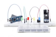 Four leds arduino. Shield and module to build electronic projects royalty free stock photos