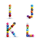 Four letters made of colored blocks Stock Photos