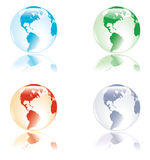 The four life elements. Glass like earth with delicate reflection, in colors representing the four elements - water, fire, land, air Royalty Free Stock Photos
