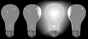 Four Light Bulbs in a Row 3 OFF 1 ON Royalty Free Stock Photography