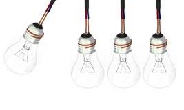 Four light bulbs. Light bulbs sets as newton balls Stock Photos