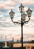 Four Light post with the city of Vienna, Austria in background. Stock Photography