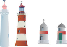Four lighthouses isolated on white Royalty Free Stock Photography