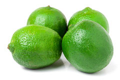 Four lime isolated on white background close up Stock Photo