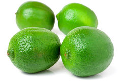 Four lime isolated on white background close up Royalty Free Stock Image