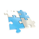 Four linked puzzle jigsaw pieces isolated royalty free illustration