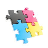 Four linked puzzle jigsaw pieces isolated Stock Image