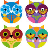 Four little funny owl on white background  Stock Photography