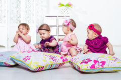 Four little girls group Stock Images