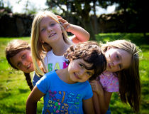 Four little girls Stock Photos