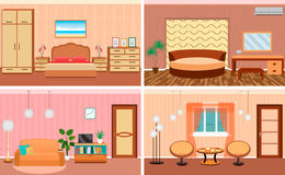 Four living room interiors in one set. Bedroom and hall design with furniture. Fully editable. Royalty Free Stock Images