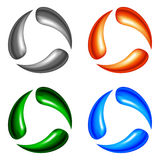 Four logo elements. Metal, fire, nature and water. Gradient mesh Royalty Free Stock Photo
