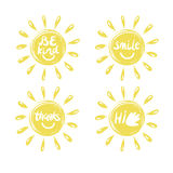 Four logo in the shape of a sun with a handwritten Hi, Thanks , Be kind, smile. Emblem. Children s background Stock Image