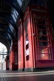 Four London Telephone Boxes. At smithfields Market Stock Photos