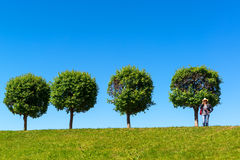 Four lonely tree and a girl Royalty Free Stock Images