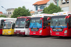 Four long-distance bus at the bus station Vung Tau city royalty free stock image
