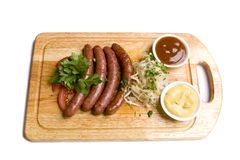 Four long frankfurters royalty free stock photo