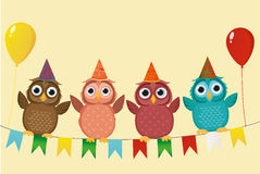Four lovely colored owls, sitting on a garland with flags holding. Balloons. Valentine`s Day and Birthday. Vector. Invitation to a holiday. Greeting card with Royalty Free Stock Images
