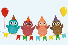 Four lovely colored owls, sitting on a garland with flags holding. Balloons. Valentine`s Day and Birthday. Vector. Invitation to a holiday. Greeting card with Stock Photo