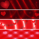 Loving  hearts red banners Royalty Free Stock Images