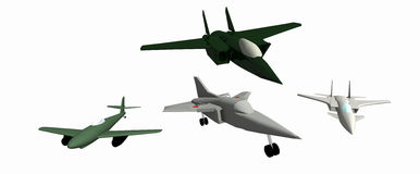 Four low-poly 3D models of aircraft. Four simple  low-poly 3D models of aircraft. White background. Messerschmitt Me.262. Mig-23. Mig-25. Mig-35 Stock Photo