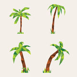 Four lowpoly palm trees. Illustration for design on yellow background.  Royalty Free Stock Photos