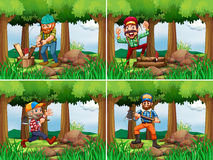 Four lumberjack chopping woods Stock Images