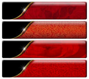 Four Luxury Headers with clipping path. Set of four luxury banners or headers with red floral texture and clipping path Stock Photo