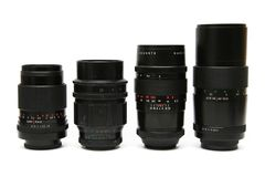 Four M42 telephoto lens Stock Photo
