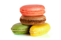 Four macaroons isolated on white background closeup Royalty Free Stock Images