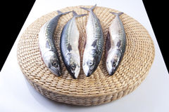 Four mackerels fish over rattan surface Royalty Free Stock Images