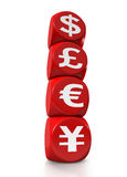 Four main currency symbols of the world. As red cubes on white background Royalty Free Stock Photo