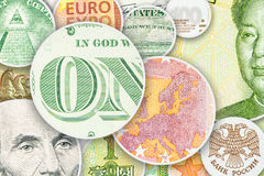 Four main world currencies banknotes in circle collage Stock Photo