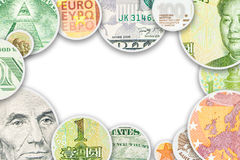 Four main world currencies banknotes in circle collage Stock Photos