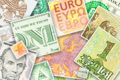 Four main world currencies banknotes in square collage Stock Photos