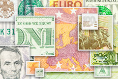 Four main world currencies banknotes in square collage Stock Photography