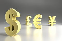 Four major currency symbols. 3D rendering of four major currency symbols in golden color - Dollar, Pound Sterling, Euro and Yen Royalty Free Stock Photos