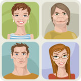 Four male and female portraits. Vector style male and female portraits Royalty Free Stock Photos