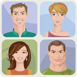 Four male and female portraits. Vector style male and female portraits Royalty Free Stock Images