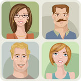 Four male and female portraits. Vector style male and female portraits Stock Photo