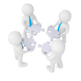 Four man holding gear consisting of puzzles Stock Image