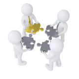 Four man holding gear consisting of puzzles Stock Images